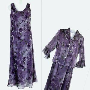 Vintage 90s Sheer Shift Dress & Floral Jacket Set
